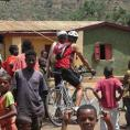 Biking through village in Ethiopia