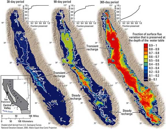 three maps of aquifer recharge in california maps of the water table