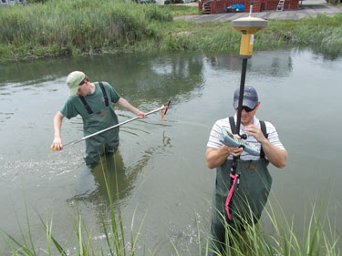 surveying sediment after the hurricane