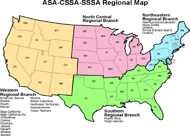SSSA Branches Soil Science Society Of America - Us map northwest