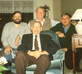 A meeting of some key players in the development of the Kirkham Conference. Left to right: Bob Horton, Don Kirkham (front), Don Nielsen, and Rienk van der Ploeg.