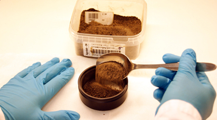 Soil sample prepared for spectroscopy measurement