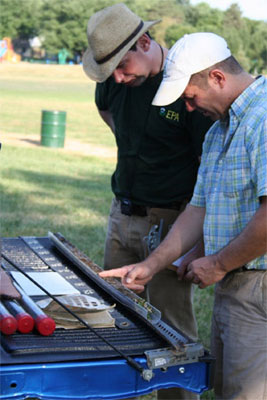 soil scientists look at soil core