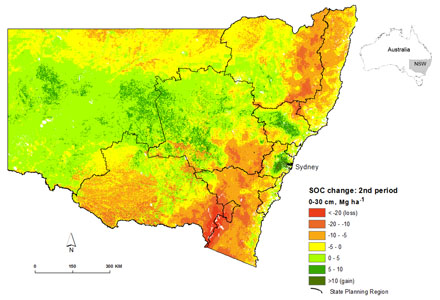 New Souh Wales map predictng soil organic carbon change