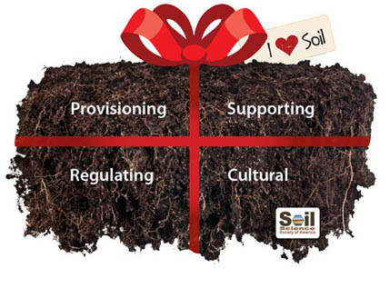 Soils give gifts of provisioning, supporting, regulating, cultural significance