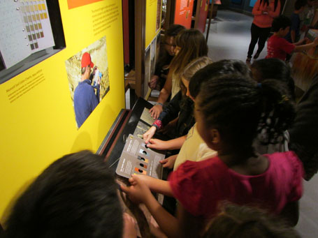 Children look at a Munsell soil color determination book