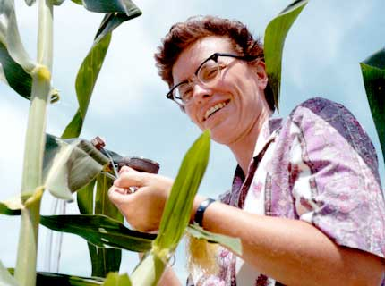 Betty Klepper with corn plant, 1975