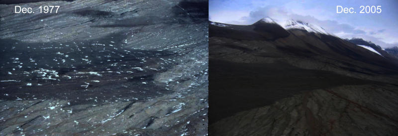 Two aerial views of an Antarctic landscape